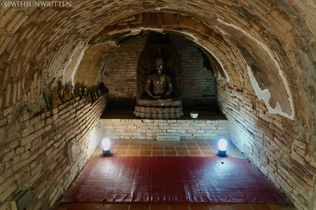 A Buddha image in the Wat Umong tunnels.