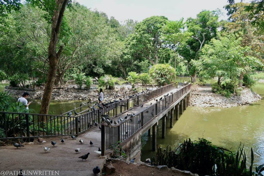 Bridge to the island in Wat Umong's Monks' Abode.