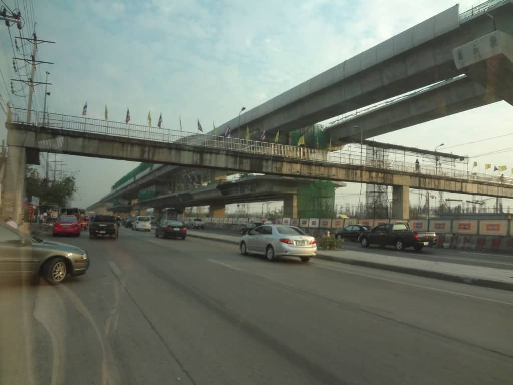 A new skytrain station under construction in the suburbs.