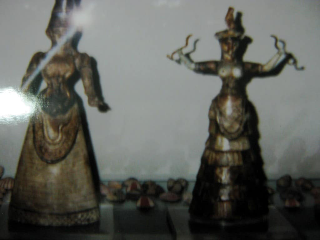 A badly taken photo of the Minoan Earth goddess from Crete.