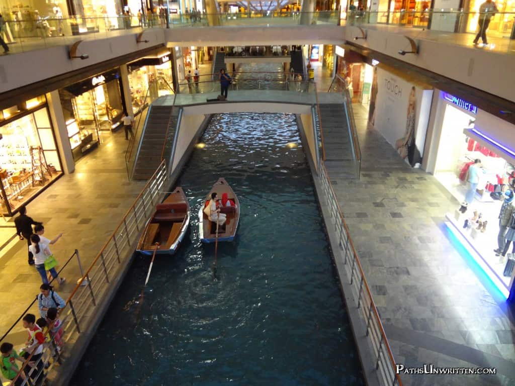 The canal taxi system which rns through the mall.
