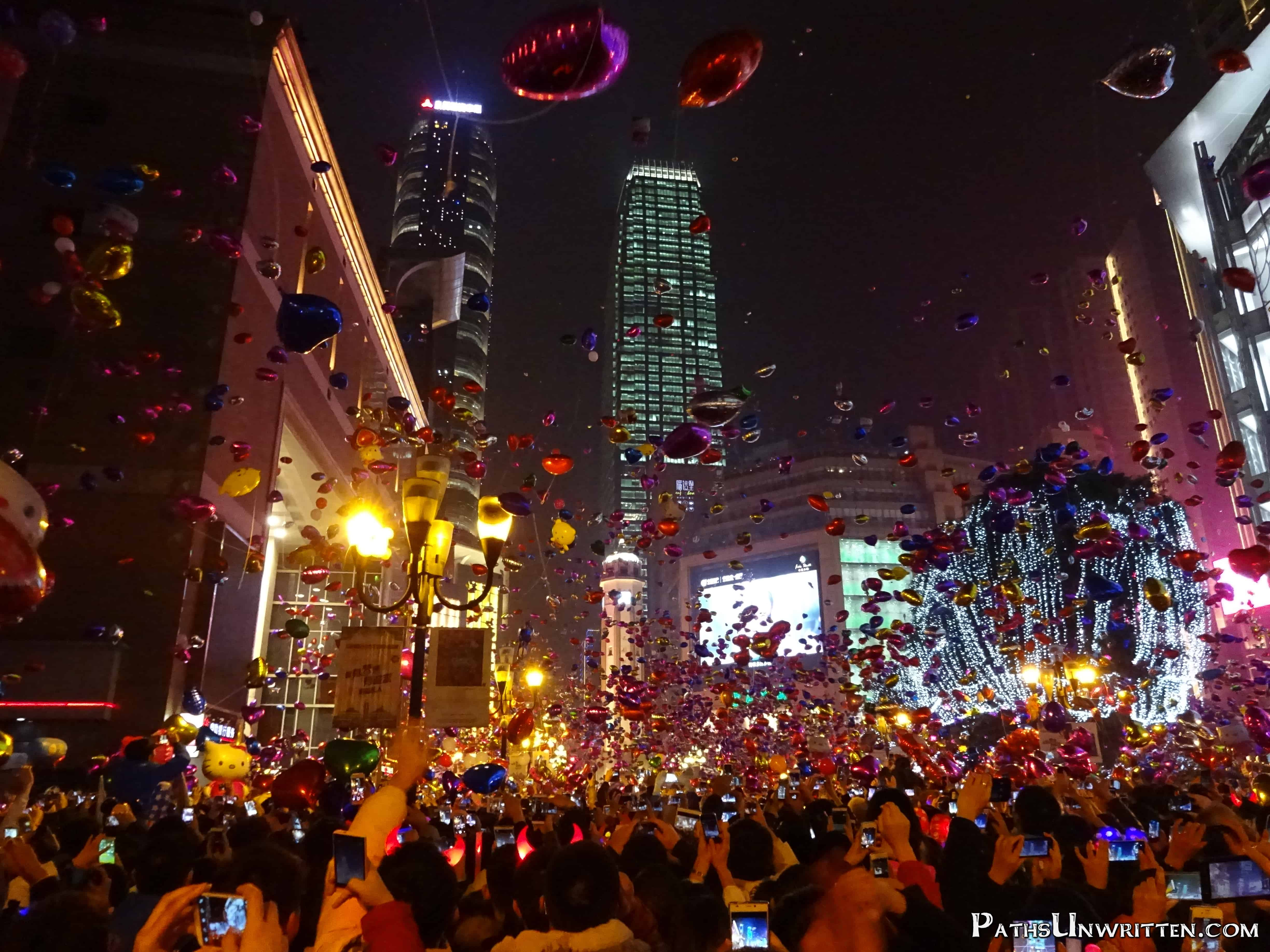 The Chongqing Days:  New Year's Eve in Jiefangbei