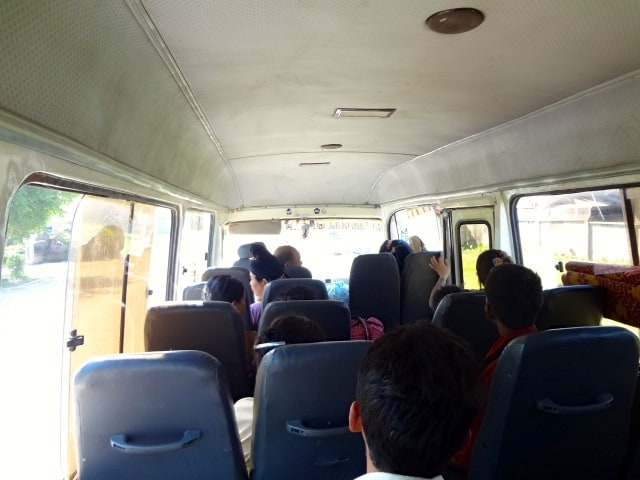 Inside the bus to Muang Sing.
