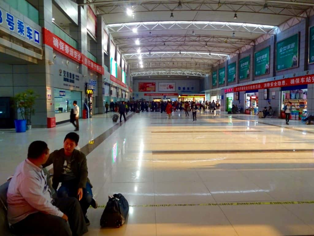 The interior of the Chongqing Bei Bus Station.