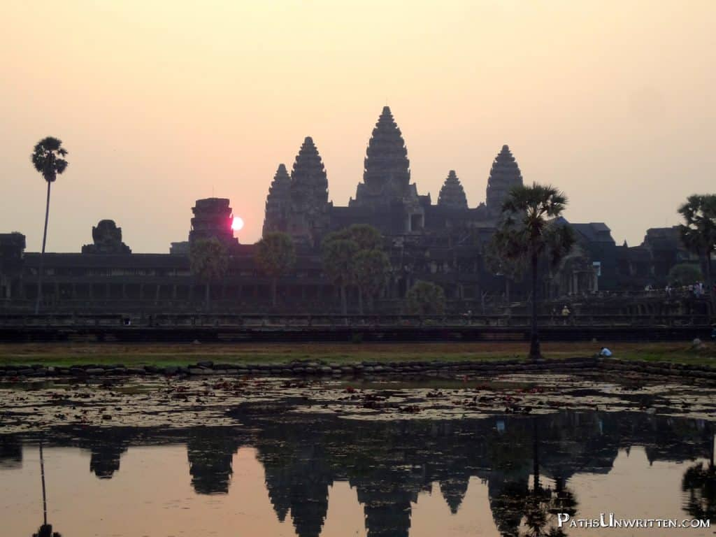 Angkor Wat in Cambodia, the crowning architectural achievement of the Khmer Empire.