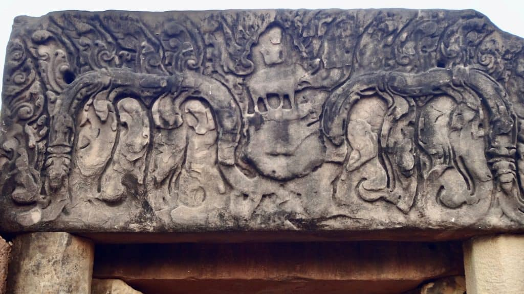 Lintel carving atop the entrance depicting Indra and Erawan.