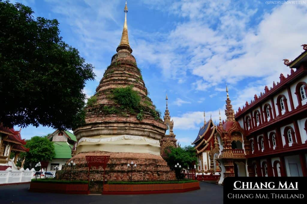 The aging stupa at Wat Saen Muang Ma Luang in the north of Chiang Mai's Old City.