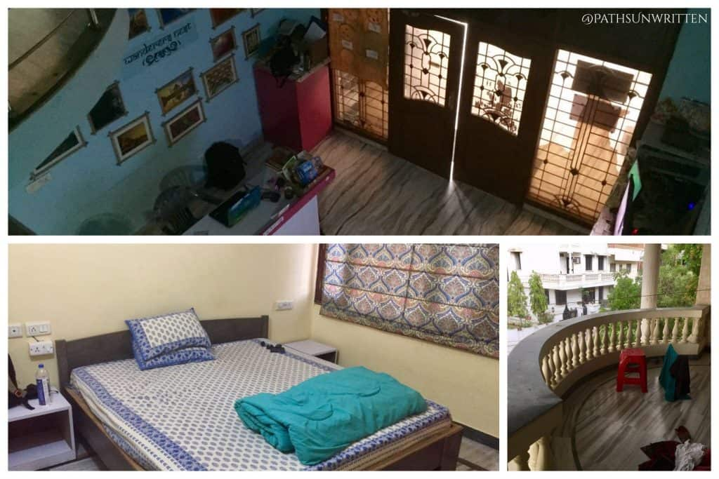 Interior of the Wanderers Nest hostel in Jaipur, India