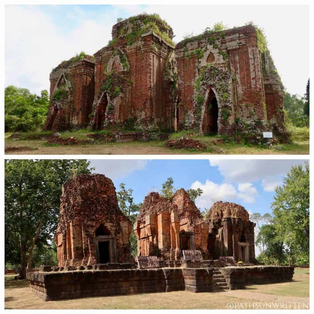The Chams' Tháp Chiên Đàn (top) and the Khmers' Prasat Prang Ku (bottom) may appear similar but are from different cultures.