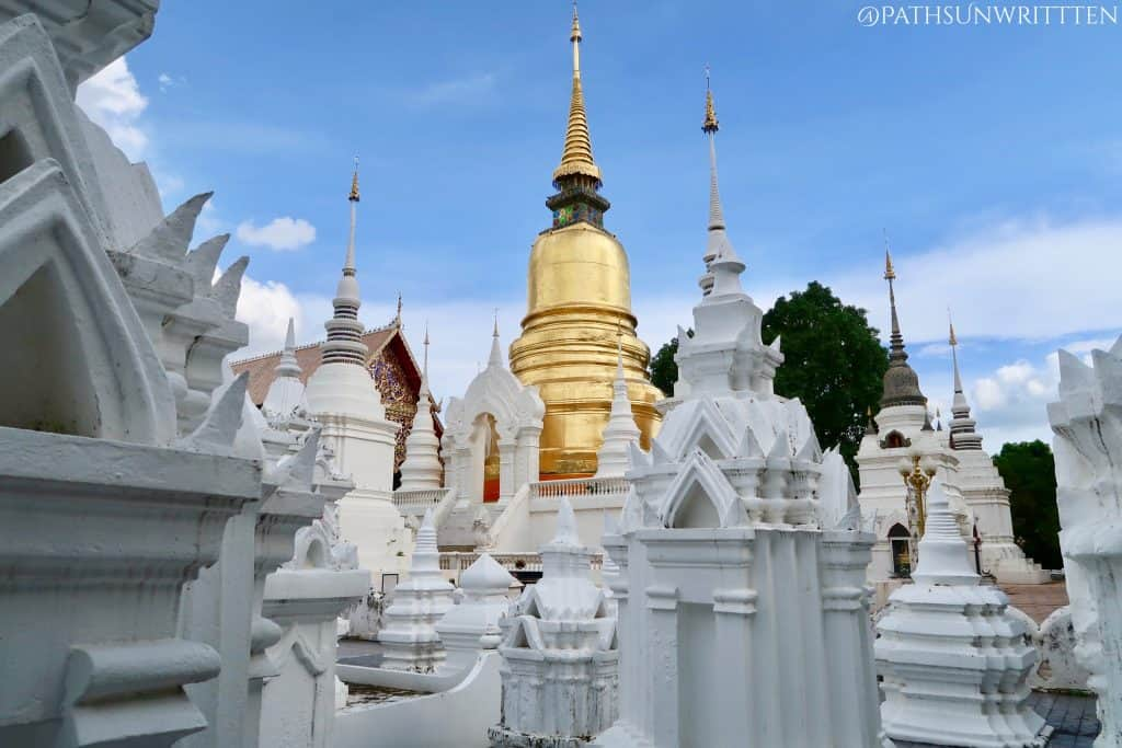 Wat Suan Dok's historic stupa as seen from the Royal Lanna Cemetery.