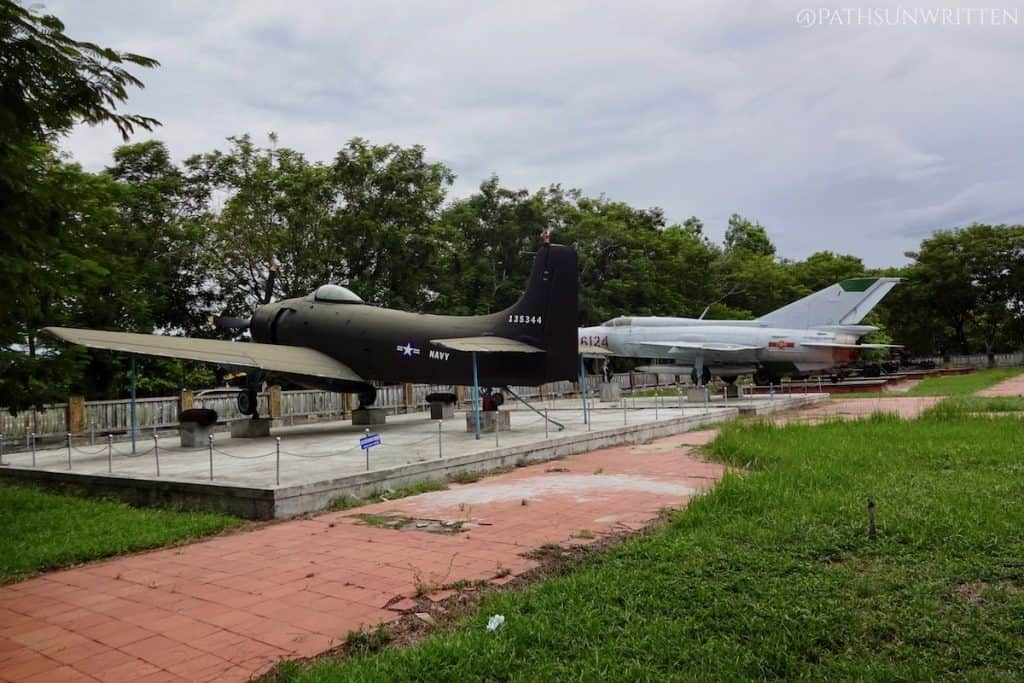 Abandoned American Vietnam War military equipment now on display at the Huế History Museum