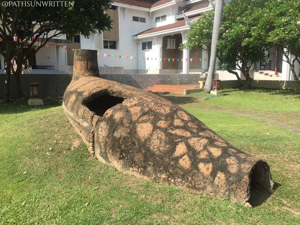 Ancient kiln from Lampang on display outside the Chiang Mai National Museum.