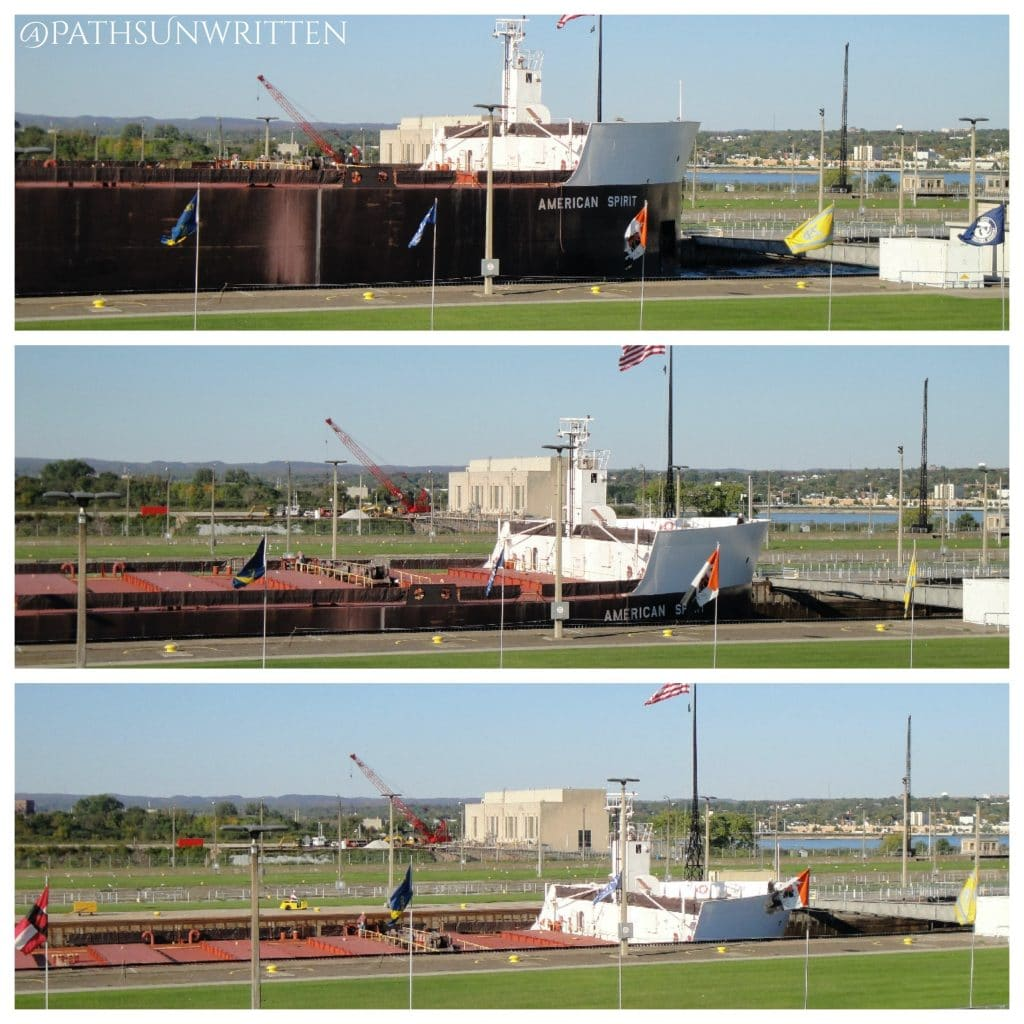 The 1000-footer American Spirit descending in the Soo Locks.