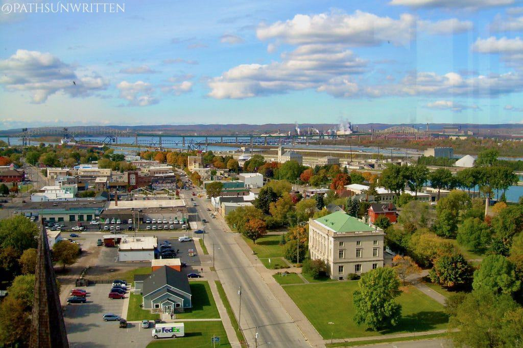 Sault Ste. Marie and the Soo Locks from the Tower of History Museum.