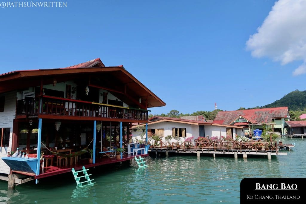 The floating village of Bang Bao stands on a pier on the southern tip of Ko Chang.