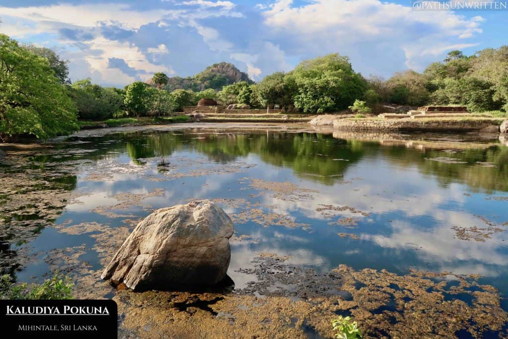 Mihintale's Kaludiya Pokuna pond is surrounded by 2000-year-old ruins.