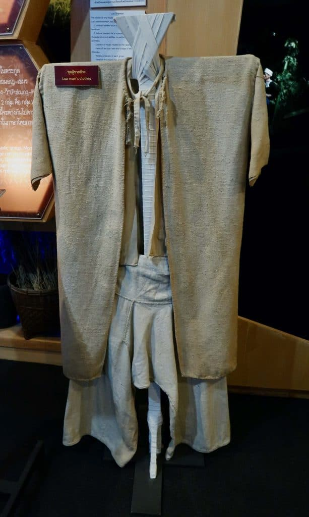The traditional Lawa attire on display at the Highland People Discovery Museum, Chiang Mai.
