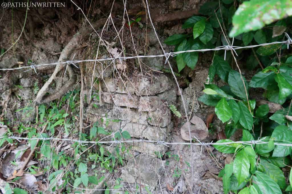 Ancient brickwork of the Wiang Chet Lin city wall buried over the many centuries.