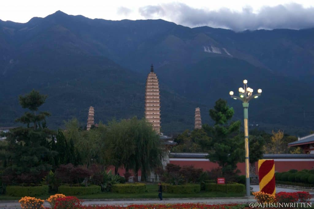 Dali's iconic Three Pagodas of Chongsheng Temple, dating from the 800s CE.