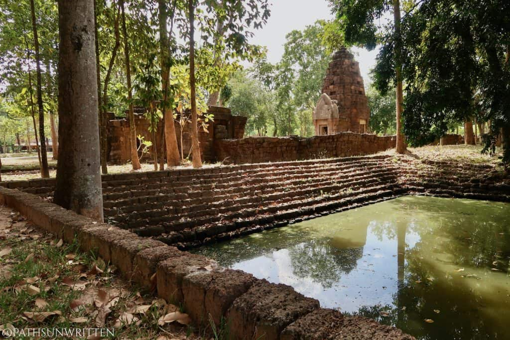 The stepped baray at Prasat Hin Ban Samo in Sisaket province, Thailand.