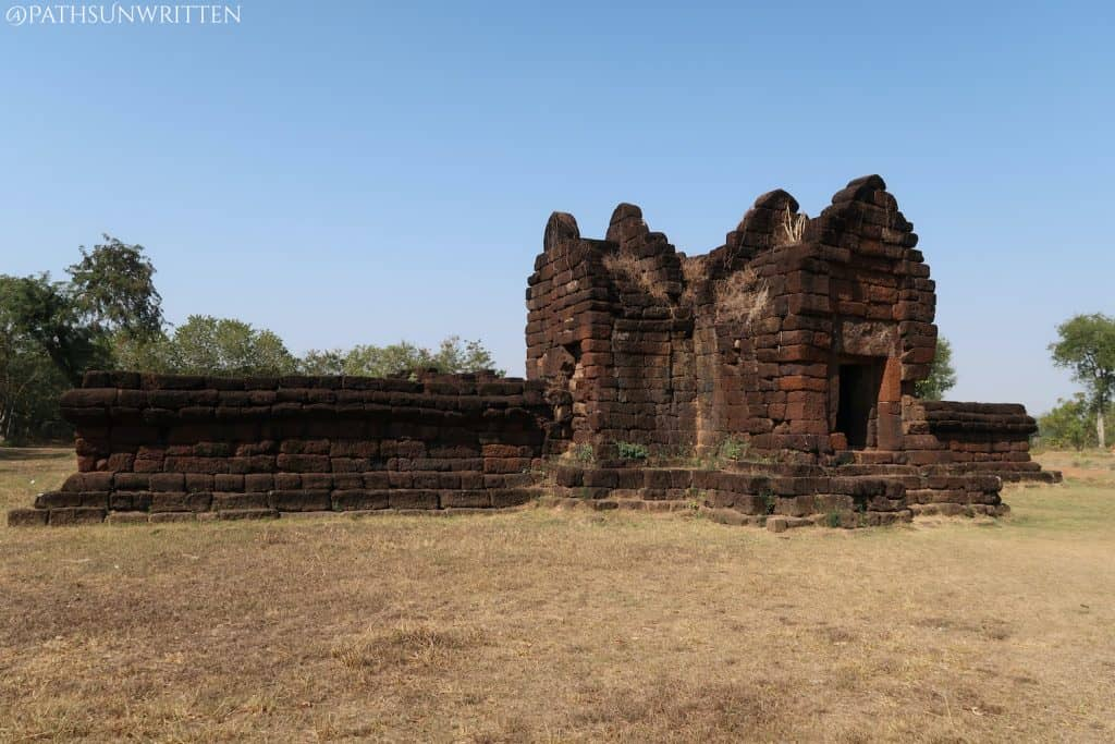 The enclosure wall and cruciform gopura of Ku Phanna in Sakon Nakhon province, Thailand.