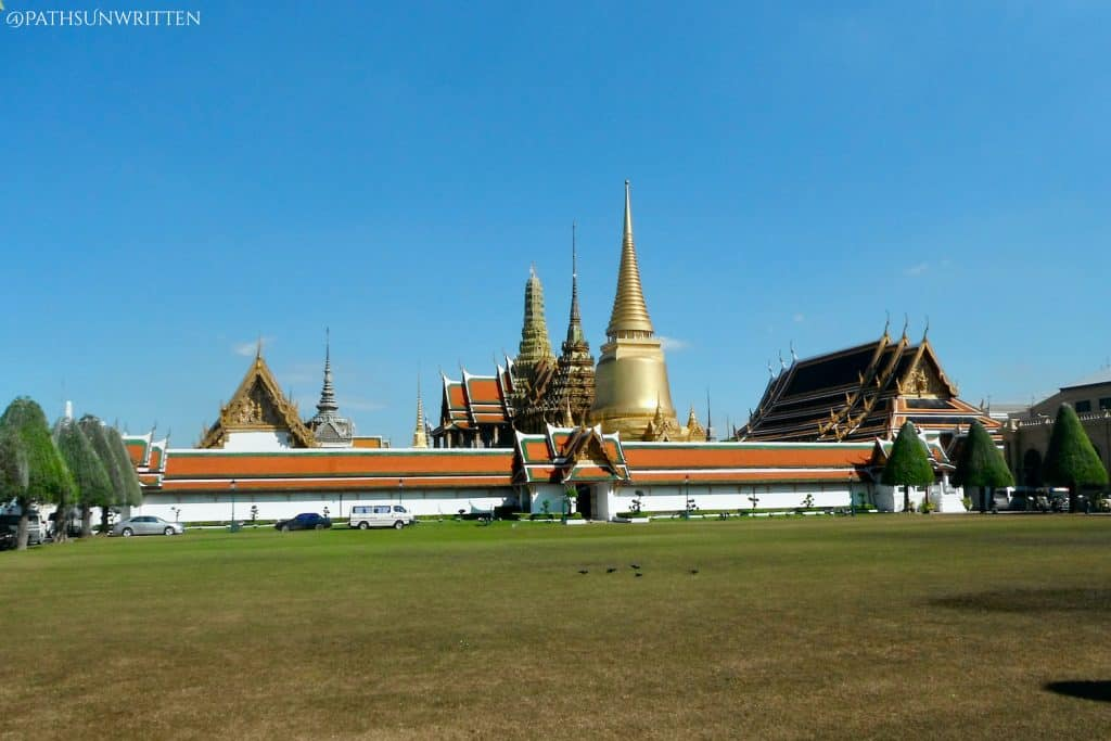 The Wat Phra Kaew-Grand Palace complex from outside.