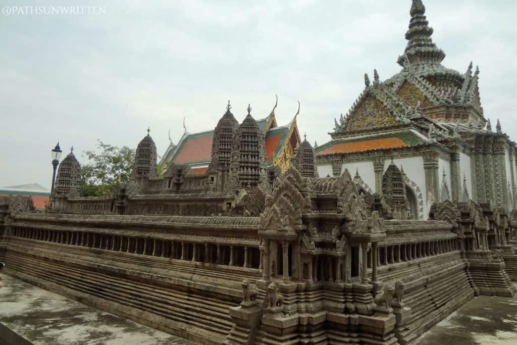 The distinctly Khmer features amidst the colorful Thai state temple.