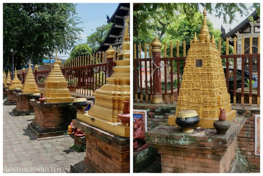 A display of famous stupas from around the world, including the Mahabodhi stupa.