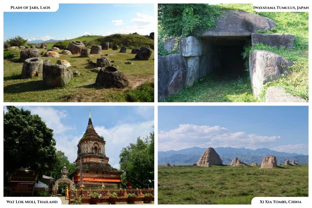 Burial monuments from cultures surrounding China.