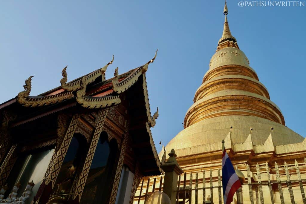 The Phrathat Hariphunchai stupa supposedly houses relics from the Buddha's visits to ancient Thailand.