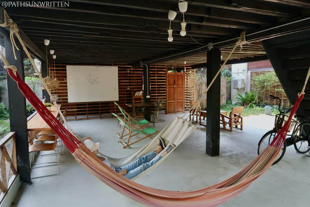 Resting in the shaded Pickbaan Hostel in central Lamphun.