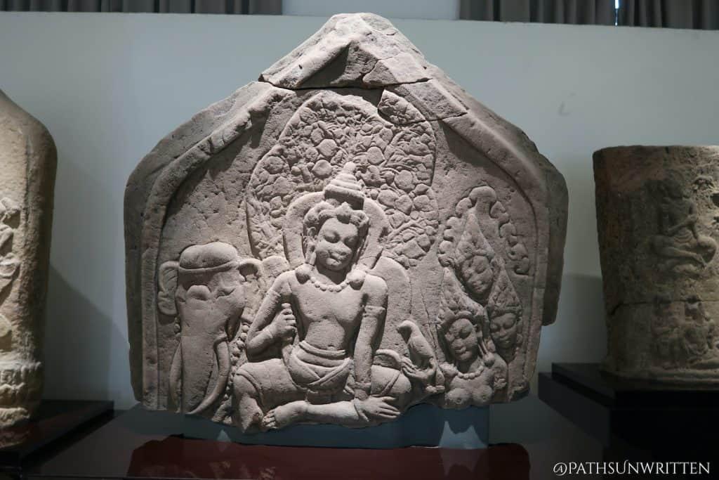 Sema stone depicting a scene from the Kulawaka Jataka. Found at Muang Fa Daet Song Yang and on display at the Khon Kaen National Museum.