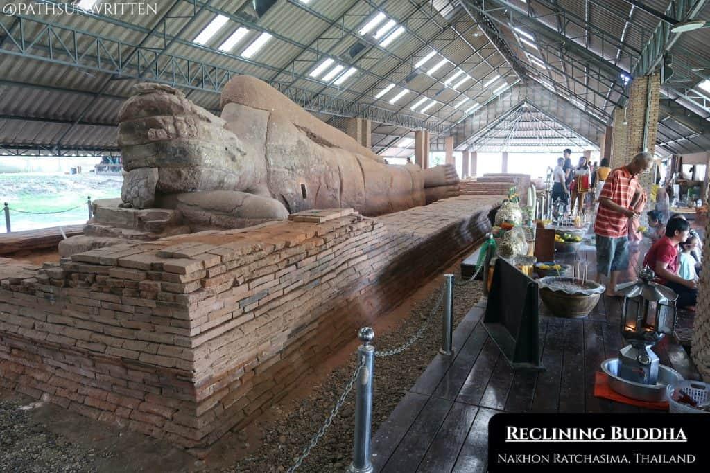 The Dvaravati Reclining Buddha Image at Wat Dhammachraksemaram in Muang Sema.
