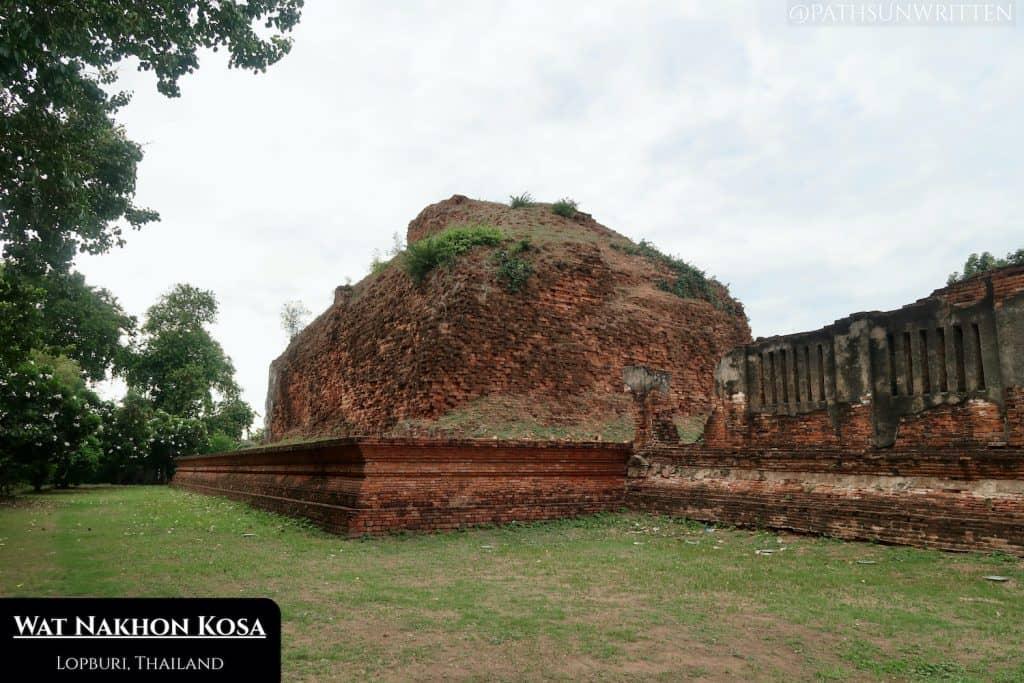 The Dvaravati stupa of Wat Nakhon Kosa in Lopburi.
