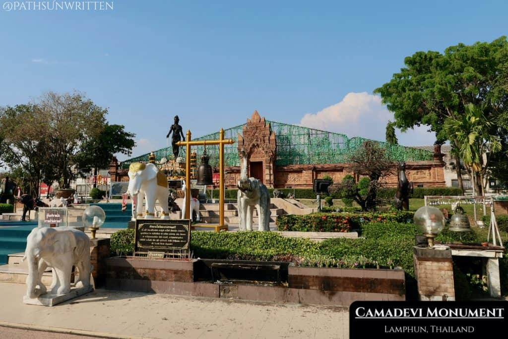 The monument to Queen Camadevi is located at the southwestern corner of Lamphun's Old City.