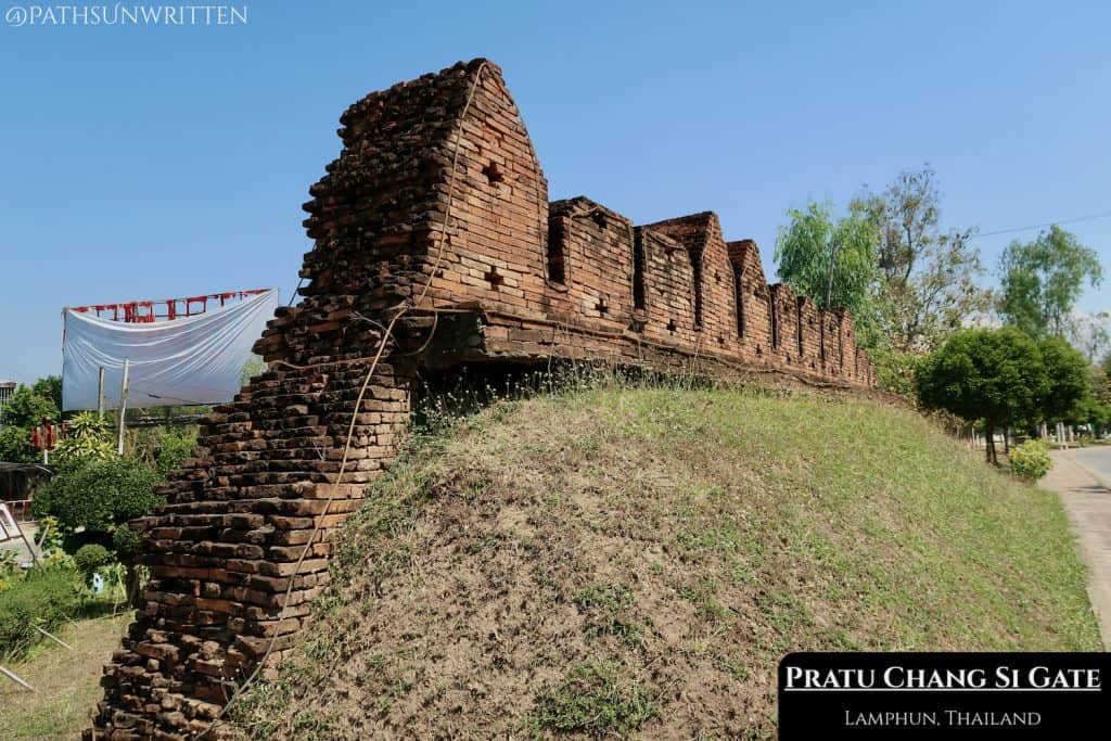 The reconstructed Pratu Change Si is built on the old base of the ancient wall.