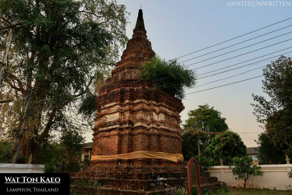 The ruined stupa at Wat Ton Kaeo sits in an abandoned section of the old temple grounds.