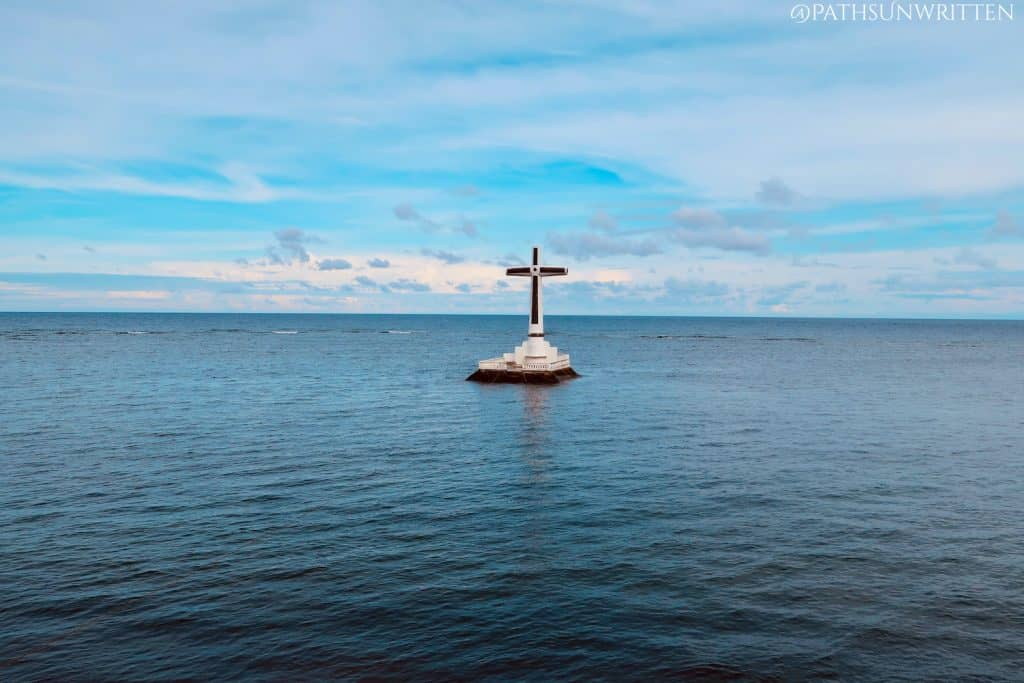 The Camiguin Sunken Cemetery monument from the shore.