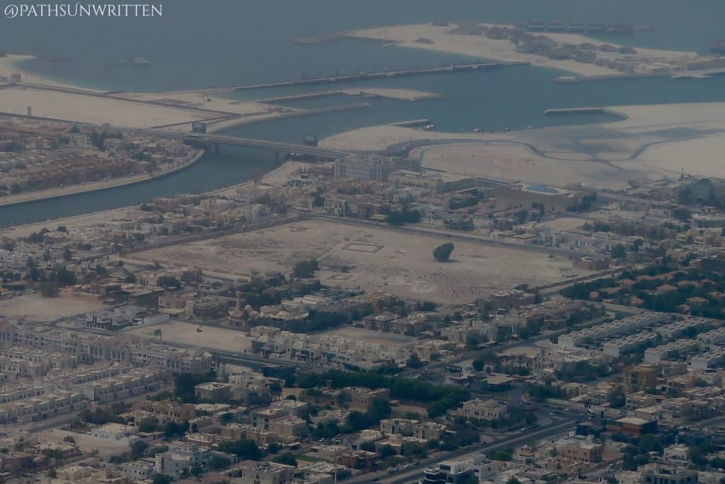 The Jumeirah Archaeological Site from the 148th floor of the Burj Khalifa.