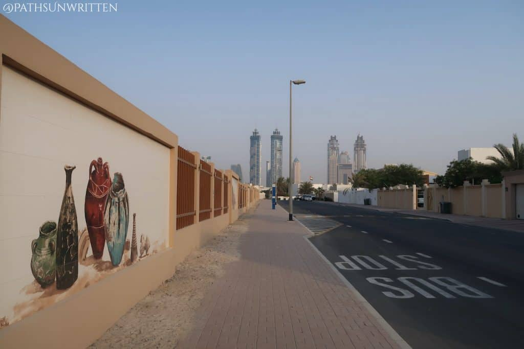 Street and fence surrounding the Jumeirah Archaeological Site.