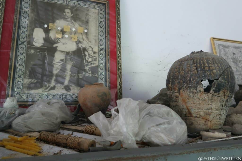 Artifacts on display at Wat Luang Nong Ngu