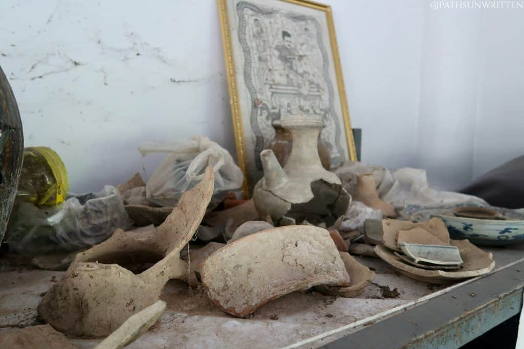 Some artifacts on display at Wat Luang Nong Ngu