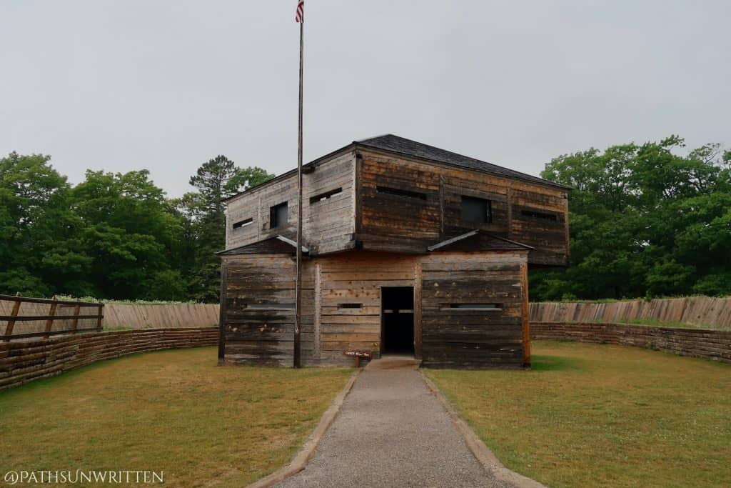 The Fort Holmes blockhouse inside the main fortifications.