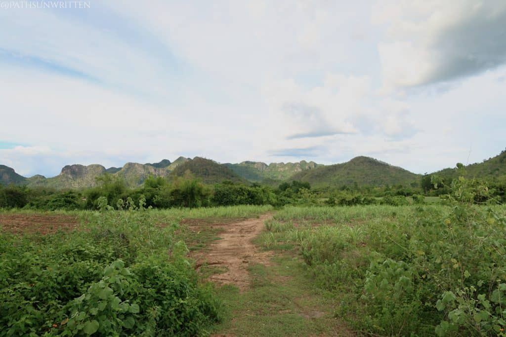 The countryside surrounding Kanchanaburi is mostly flat with low mountains