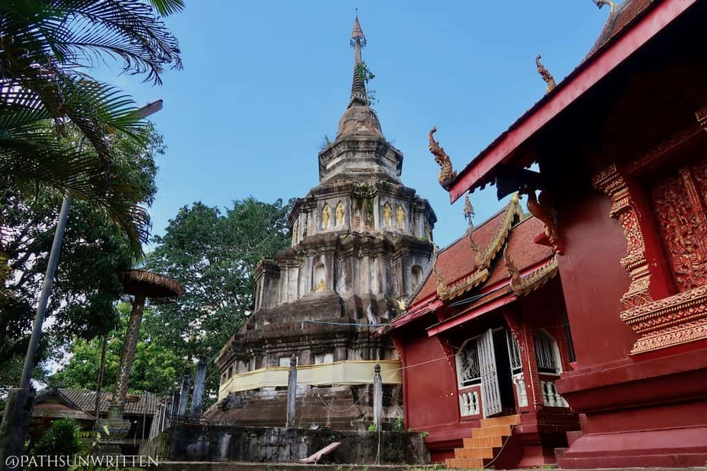 The Phrabat Chedi with a small shrine containing the Buddha's Footprint image