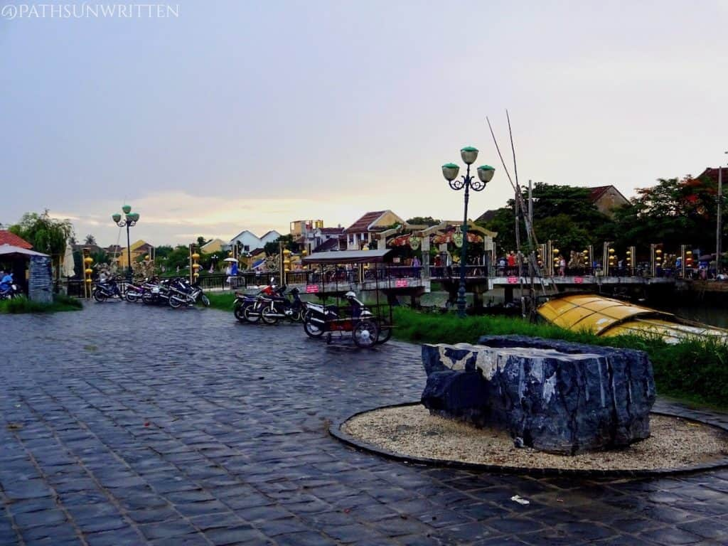 The riverfront in Hoi An, the closest town most visitors will begin from