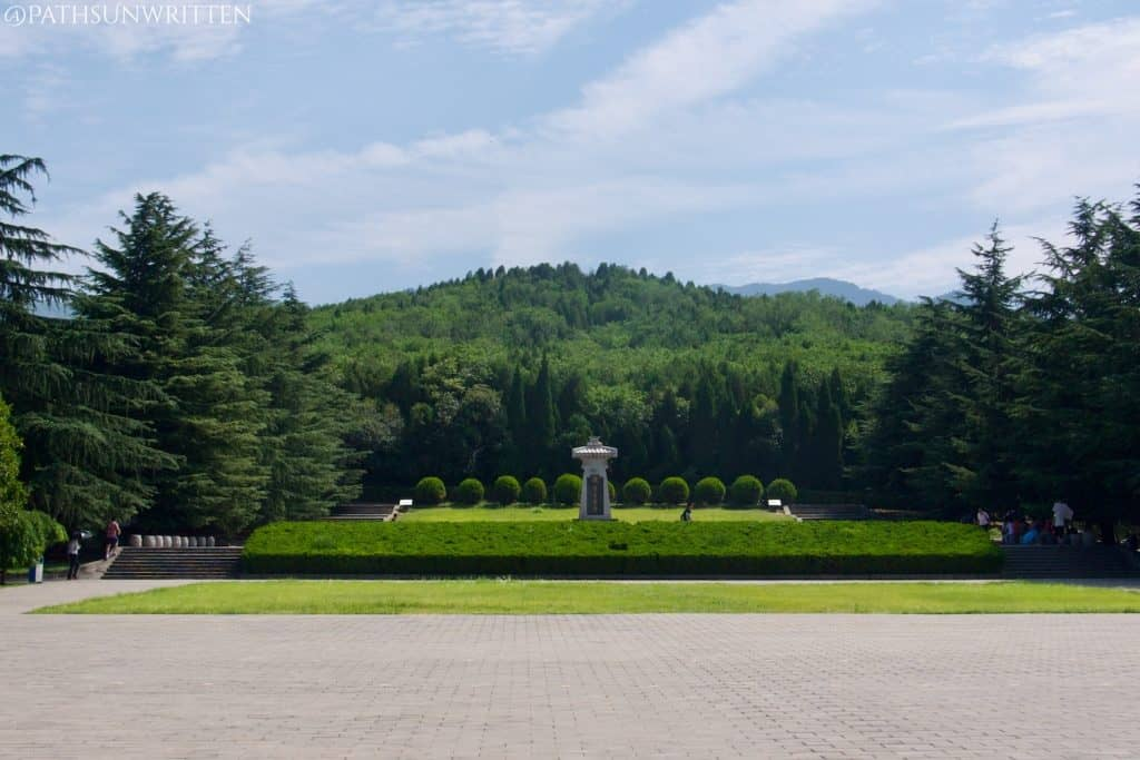 View from the courtyard of the Qin Shi Huang Mausoleum complex