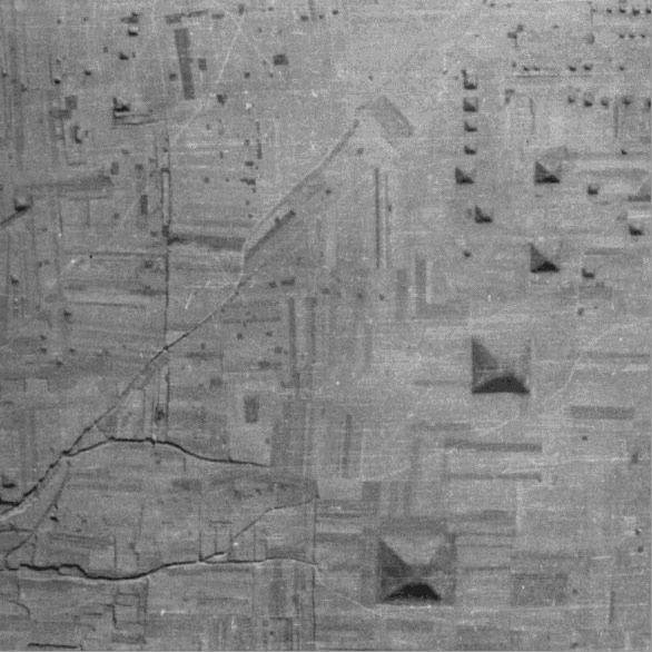 A famous high-altitude photo of many of the pyramid tombs