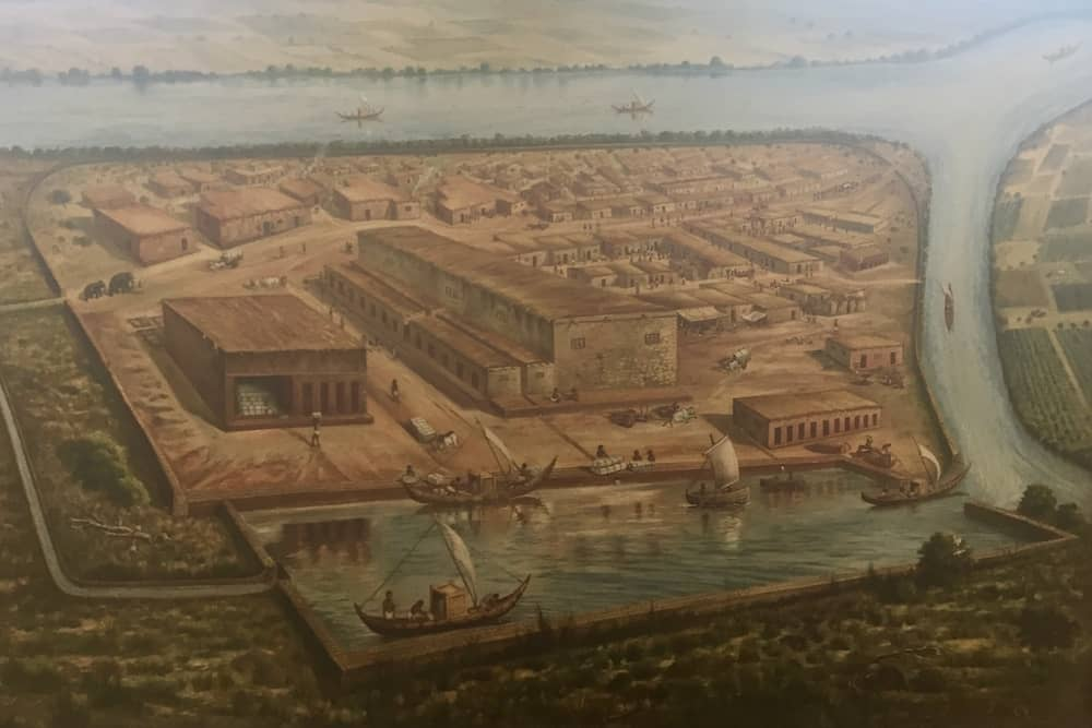 Artist's interpretation of the Harappan port city Lothal, on display at the Lothal Museum
