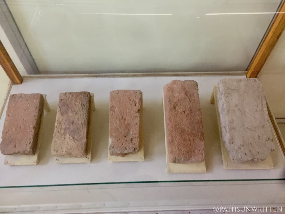 Standardized bricks on display in the Lothal Museum